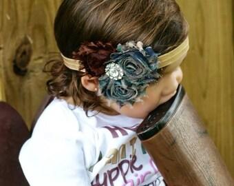Camo Shabby Flower Headband with Rhinestone