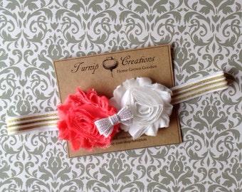 Shabby Flower Headband Coral and White White/Gold Glitter Summer