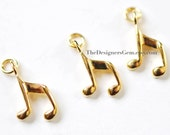 One 18kt Gold Vermeil Music Note Charm with Jump Ring 15 x 9mm