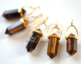 NEW  -  Tiger Eye Point Bead Pendant with Vermeil Gold Bail - 925, Luxe, Connector