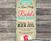 Vintage T-length shower invitation & coordinating tags
