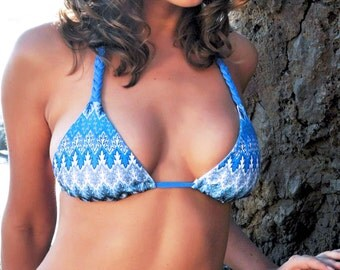 Swimsuit Blue Chevron Zig Zag Scrunch Butt Bikini