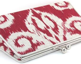Red Linen Ikat Clutch Purse -  Boho Evening Bag - Bagboy