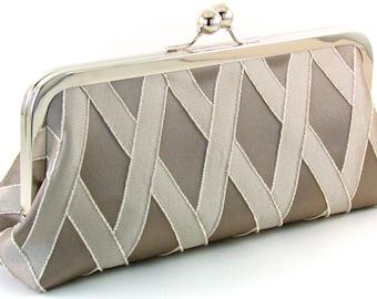 Evening Bag Clutch - Silver Gray Taupe Bridesmaid Purse - Bridal Modern Wedding Unique Handmade Handbag With Nickel Metal Frame