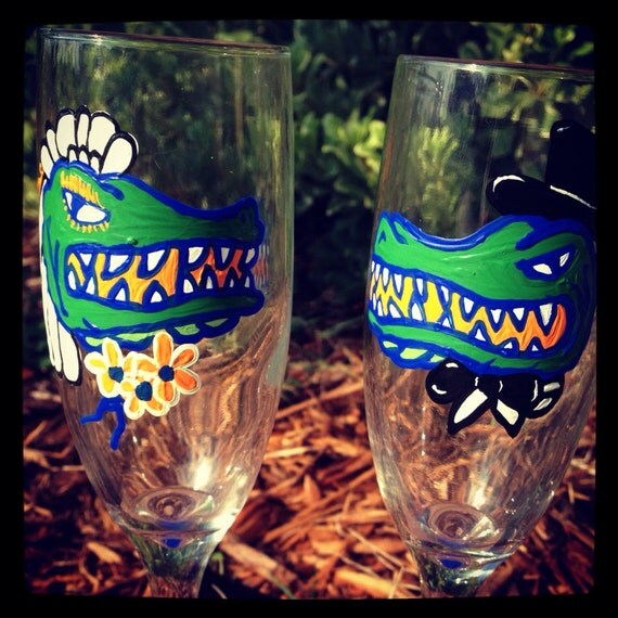 University of Florida Gators Champagne Wedding Flutes College Game day