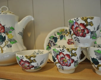 Vintage Wood and Sons Ashbourne china tea set for 6