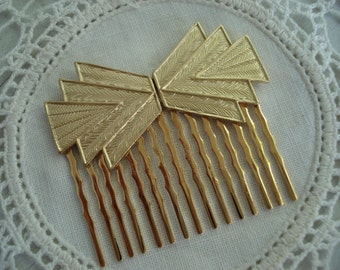 Vintage Art Deco Textured Gold Hair Comb Geometric Tribal Native Inspired 1920's Southwest