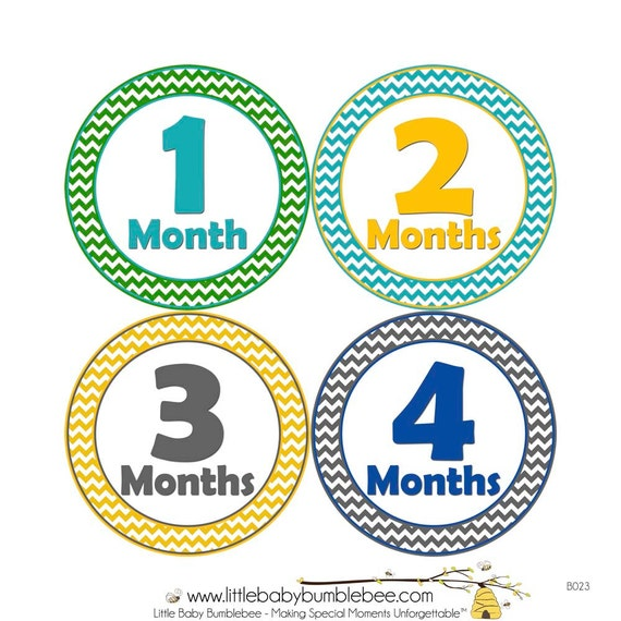 Monthly Stickers, Boys Photo Props, Monthly Baby Stickers, Monthly Baby Photos, Baby Gift, Milestone Stickers, Chevron (B023)