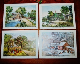 Vintage Currier & Ives Four Season Lithos