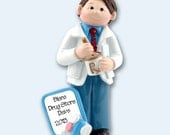Giggle Gang PHARMACIST Hand Painted RESIN Personalized Christmas Ornament