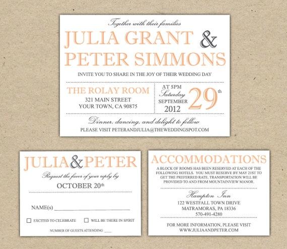 Homemade Wedding Invitation Template: Modern Wedding Invitation Template Printable DIY By