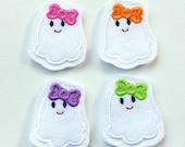 White Ghost Felt Stitchie - Ghost Felt Applique - Spooky Ghost Embroidered Felt Stitches - Halloween Applique-UNCUT (Set of 4)