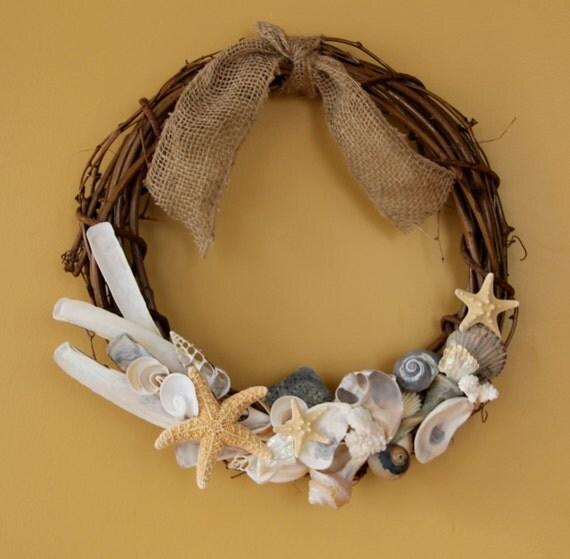 Items similar to seashell wreath beach decor nautical for Beachy decor items