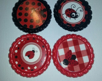 Red Ladybug Bottle Caps