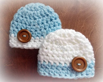 Chunky baby twin hats - twins photo prop - baby shower gift - bringing baby home - made to order