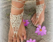 Hand crocheted sexy barefoot lace sandals in cream color made from pure cotton yarn