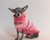 Coral and Pink, Speckled, XS Dog Sweater, Chihuahua Sweater,Handknit, Wool