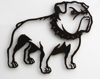 "Bulldog with collar metal wall art 22"" wide - wall hanging silhouette dog - black with rust accents"