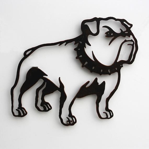 Bulldog with collar metal wall art 22 wide wall