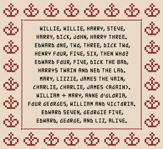 AND QUEENS of England Mnemonic Cross Stitch Chart