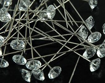 "2"" Clear Diamond Coarsage/Bouquet Pin 144 pc"