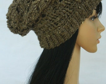 Winter Beanies Slouchy Cloche Tams Berets  Unisex Hat In Brown Barley