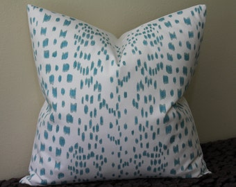 "Les Touches Brunschwig and Fils Print in Aqua - 18"" x 18"",  20"" x 20"" or 22"" x 22"" Decorative Designer Pillow Cover"