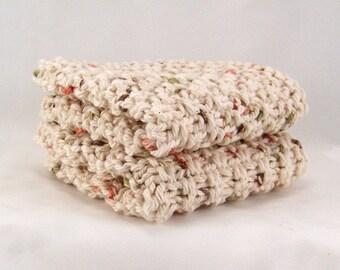Hand knit cotton dishcloth - washcloth - kitchen or bath - Sandy Coastal Designs - ready to ship