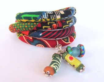 Gypsy jewelry, african fabric wrap bracelet/ gift for teens