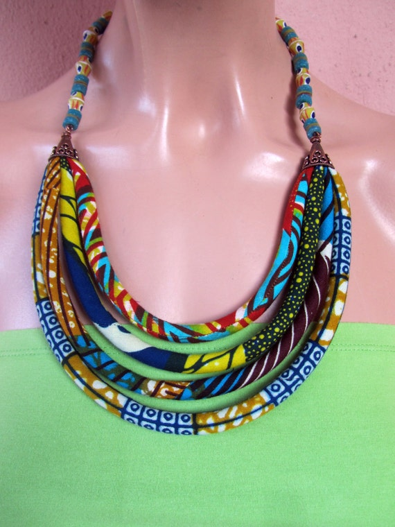 Colorful African Wax Print Bib Necklace Recycled