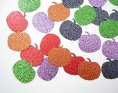 50 Glittered Halloween Pumpkin paper punch die cut confetti scrapbook embellishments - No155