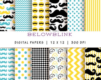 Mustache Digital Paper Pack, Scrapbook Papers, 12 jpg files 12 x 12 - Instant Download - DP193