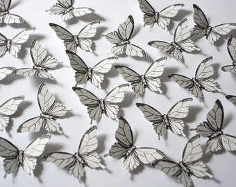 25 Pale Gray Elegant Butterfly scrapbook embellishments - No1006