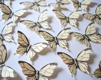 25 Ivory Elegant Butterfly scrapbook embellishments - No1009