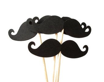 24 Black Mustache Party Picks, Cupcake Toppers, Food Picks, Toothpicks, Drink Picks - No867