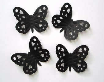 50 Large Black Embossed Butterfly punch die cut cutout scrapbooking embellishments - No1024