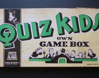 1940 Quiz Kid Board game to test your knowledge. by Parker Brothers