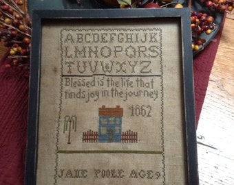 Primitive Early Style JANE POOLE Sampler Repro