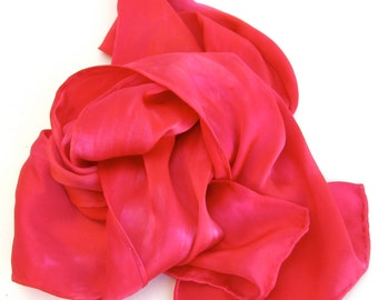silk SALE  ...  hot pink and red  ...   hand dyed silk charmeuse scarf
