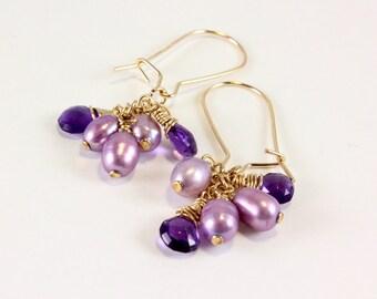 Amethyst and Freshwater Pearl Earrings, February Birthstone Jewelry, Amethyst Birthstone Jewelry, Cluster Earrings