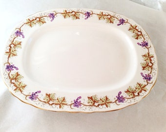 Grapevine Aynsley Platter English Fine Bone China - ivy grape leaves leaf vines vine purple yellow white - C1182 - serving plate