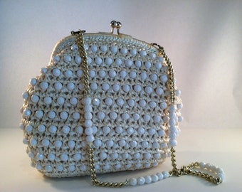 Vintage white cream vanilla beaded and crocheted clasp chain handle handbag purse