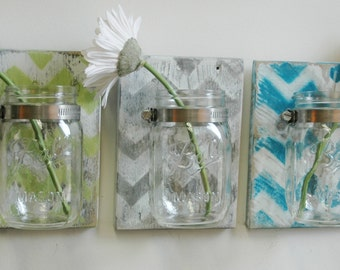 YOU PICK Chevron Wall Decor Trio Three Mason jars mounted on recycled wood shabby chic rustic wall decor