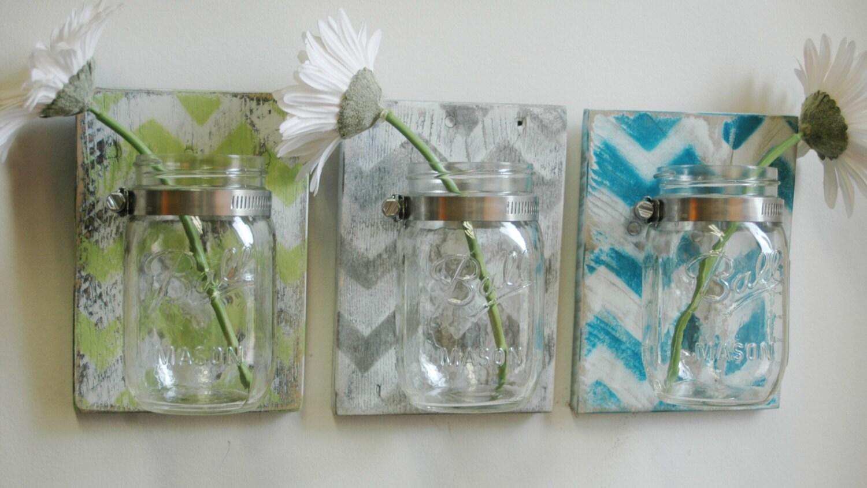 you pick chevron wall decor trio three mason jars mounted on zoom