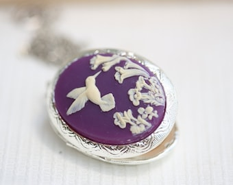 Hummingbird Locket,Locket,Silver Locket,Image locket,picture locket,Wedding Necklace,Flower,Purple Locket