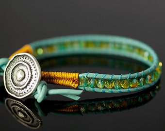 Teal Leather Wrap Bracelet with Crystal Beads
