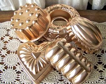 Vintage Aluminum Copper Tone Molds Kitchen Moulds Melon Heart Moulds Hanging Copper Molds Vintage 1970s
