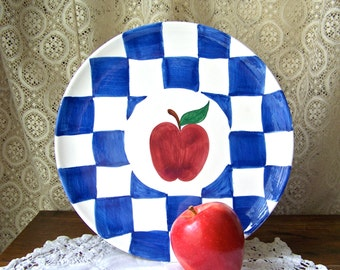 Vintage Apple Plate Kitchen Wall Plate Apple Kitchen Ceramic Blue and White Checked Apple Kitchen Wall Hanging Vintage 1970s