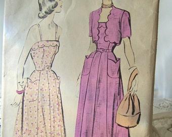 Vintage Ladies Dress Pattern 1940s Advance Pattern Sewing Pattern Ladies Sun Dress Bolero Vintage Sewing Room