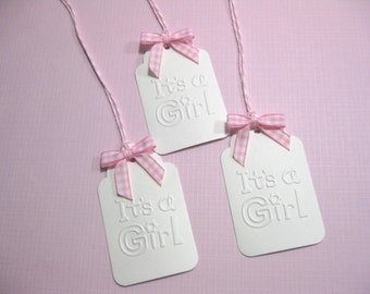 10 Embossed It's a Girl Baby Shower Tags with Gingham Bows - Gift Tags - New Born Baby - Pink